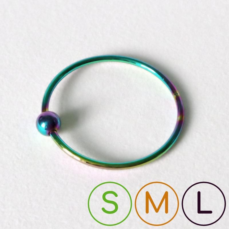 """Cockring en acier """"Rainbow"""" wire avec boule"""
